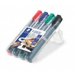 Staedtler LumoColour Permanent Marker with Chisel Tip, Pack of 4